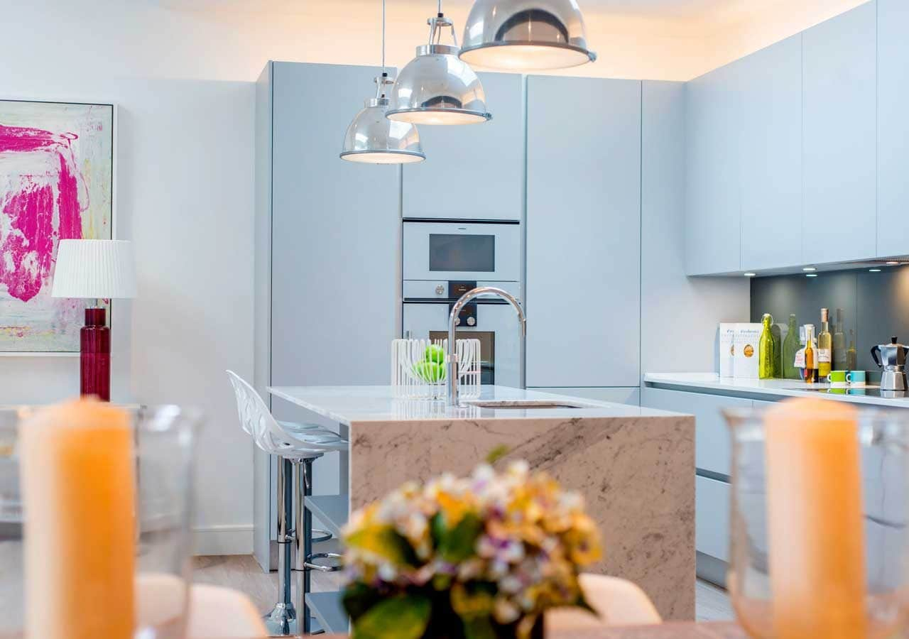 light and spacious kitchen dining area home staged by Cullum Design | London UK